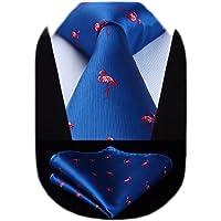 HISDERN Men's Wedding Animal Pattern Tie Handkerchief Classic Necktie & Pocket Square Set Business Ties for Men