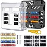 6 Voies Boîte à Fusibles, Porte Fusible avec Bus Négatif, Blocs Fusible Lame avec 16 Fusibles 6 Voyants LED Couvercle de Prot
