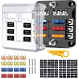 6 Way Blade Fuse Box, Circuit Fuse Holder Box Block with Negative Bus, Car Standard Blade Fuses Box with LED Indicator…