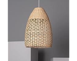 LEDKIA LIGHTING Lampe Suspendue Jinan 350x510 mm Naturel E27 Rotin pour Décoration Salon, Chambre, Cuisine