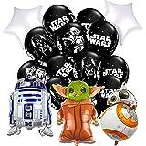 CYSJ 18pcs Decoración de cumpleaños de Star WarsDecoraciones para Fiesta De CumpleañOs con Tema Baby Yoda Globos De Star Wars