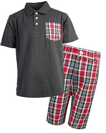 Quad Seven Boys 2-Piece Short Set with Polo Top and Plaid Short