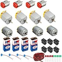 PGSA2Z Science project kit including 4 small/4 big 4 round dc motor and 4 battery (9 v) with snap connector, 6 mini…