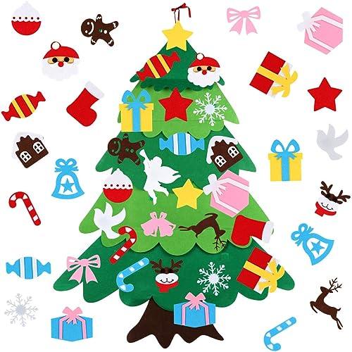 Albero di Natale in Feltro, Albero Natale Feltro per Bambini, Feltro Albero Natale con Ornamenti 26 Pz DIY Staccabile Decorazione da Parete per Bambini Decorazione Regali di Natale