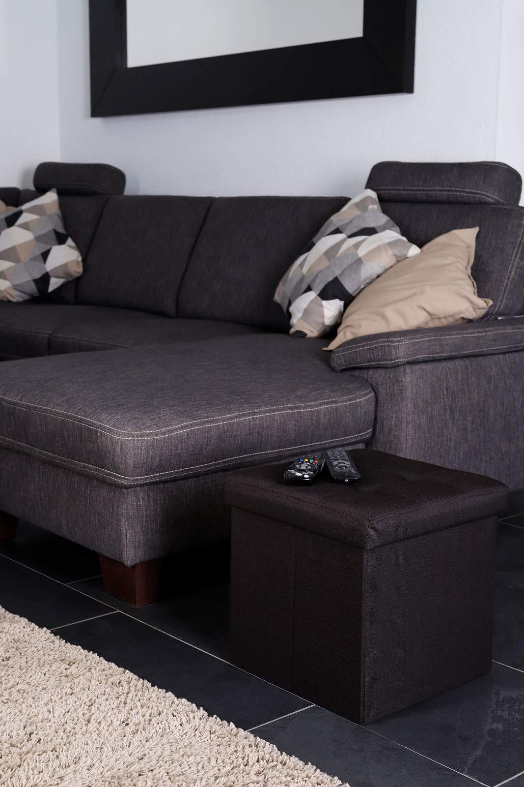 dibea SO00457, Sitzhocker faltbar, Leinen, 40 L, Cube 38 x 38 x 38 cm braun, Max 300 kg