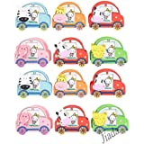 Jiada Pack of 12 Car Shape Wooden Pen Stand with Built in Photo Frame - Birthday Return Gifts for Kids in Bulk