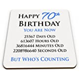 Happy 70th Birthday You are Now Days Hours Minutes Seconds Old Novelty Glossy Mug Coaster - Blue