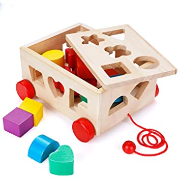 3b4d1622494a4 Lewo Wooden Shape Sorter Bus Classic Push Pull Truck Toy for ...