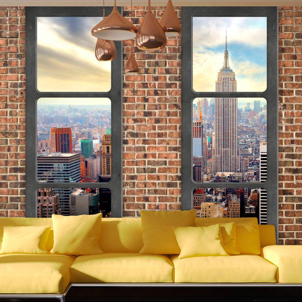 Fototapete fensterblick skyline  murando - Fototapete Fenster nach New York 350x245 cm - Vlies ...