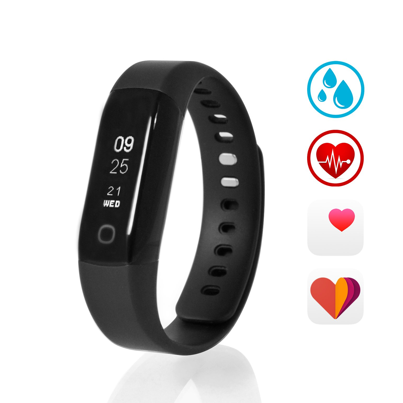 Sharon Activity Tracker | Bluetooth Smart Bracelet Watch Sports Pedometer Sleep Health Fitness Tracker Activity Wristband | includes black and red wristband | Data transfer to SwissMed App for iOS, Android and Microsoft, e.g. with iPhone 7, iPhone 7 Plus, Samsung Galaxy S7 S7 Edge S8, Huawei P9 Mate 9, Windows Phone