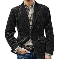 oneforus Men's Retro Corduroy Suit Jacket Plus Size Loose Casual Suit Jacket Brown, Black