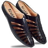 VON HUETTE Men's Laser-Cut Comfort Faux Leather Look Casual Slippers Black Half Mule Back Open Mocassion Loafers