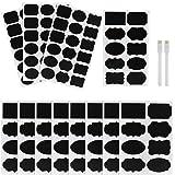 Kesote Étiquette Tableau Noir, 128 PCS (12 Feuilles) Autocollants Premium durables réutilisables +2 marqueurs de Craie effaçables pour décorer Votre Bureau, Jars et Les étagères de Rangement