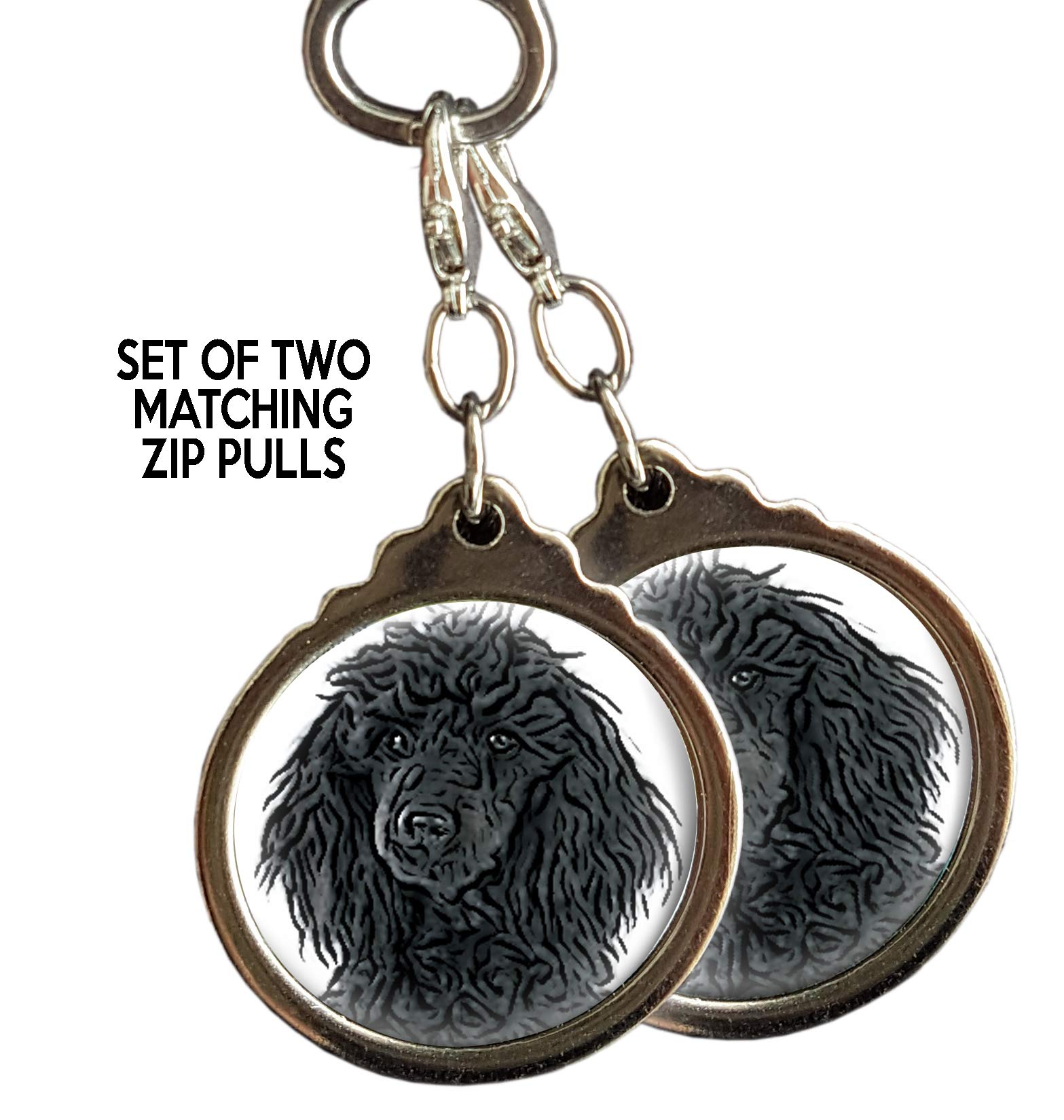 Black Poodle Dog Zip PULLS. Set of Two Matching Zip pulls or Bag Tags. Puppy Dog Pet Gift.