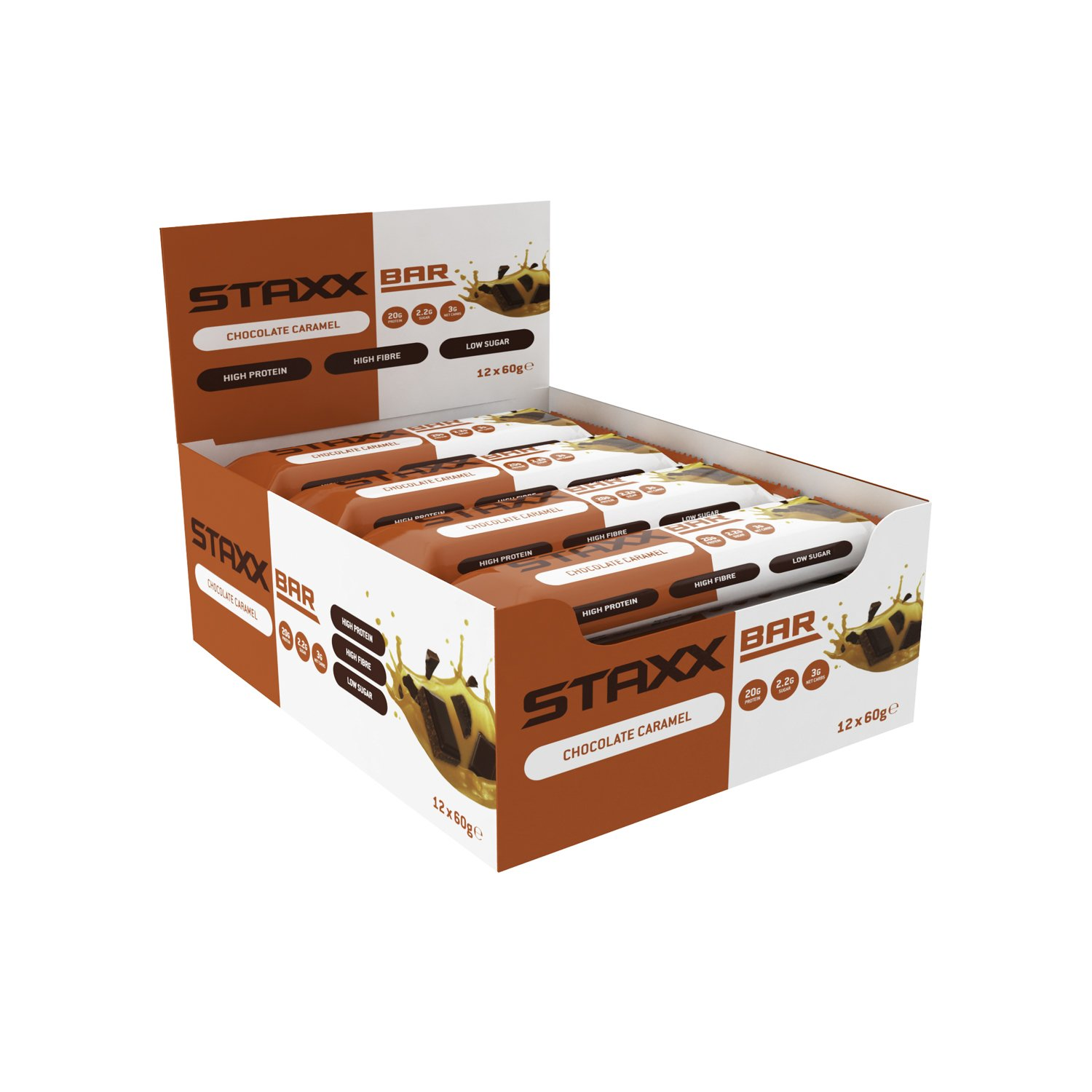 Protein Dynamix STAXX Bar – The Ultimate Low CARB HIGH Protein Bar – Box of 12 x 60g Bars