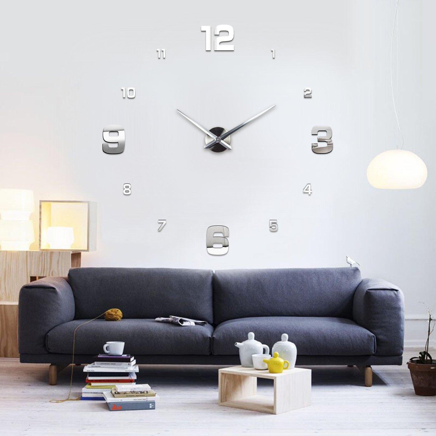 XXL3D Riesige 3D Wanduhr Vinyl DIY Ø 130cm Große XXL Spiegel Uhr V ...