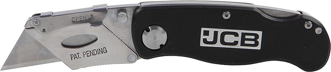 JCB Tools Lockable Knife, Aluminium body lockback utility knife with 3 blades, 22025244