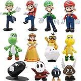 Gxhong 12PCS Figuras de Super Mario Juguete Yoshi Mushroom Donkey Mario Bros Luigi PVC Figura de Acción Usado para Niños Deco