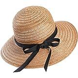 Eight Space Cappello da Sole da Donna, Pieghevole Cappello Parasole di Paglia, Cappello da Spiaggia Estivo Protezione Anti-UV