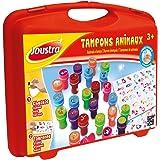 Joustra Mallette Animaux Loisirs Créatifs pour Enfants dès 3 ans-26 Tampons Pré Encre Lavable-J41476, 41476, Multicolore