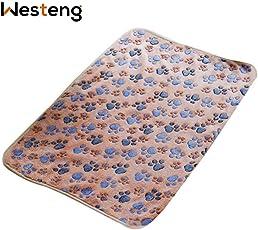 Westeng, weiche, warme Fleece-Haustier-Decke für Hunde und Katzen, Pfoten-Motiv, Größe: 60x 40cm, 1 Stück
