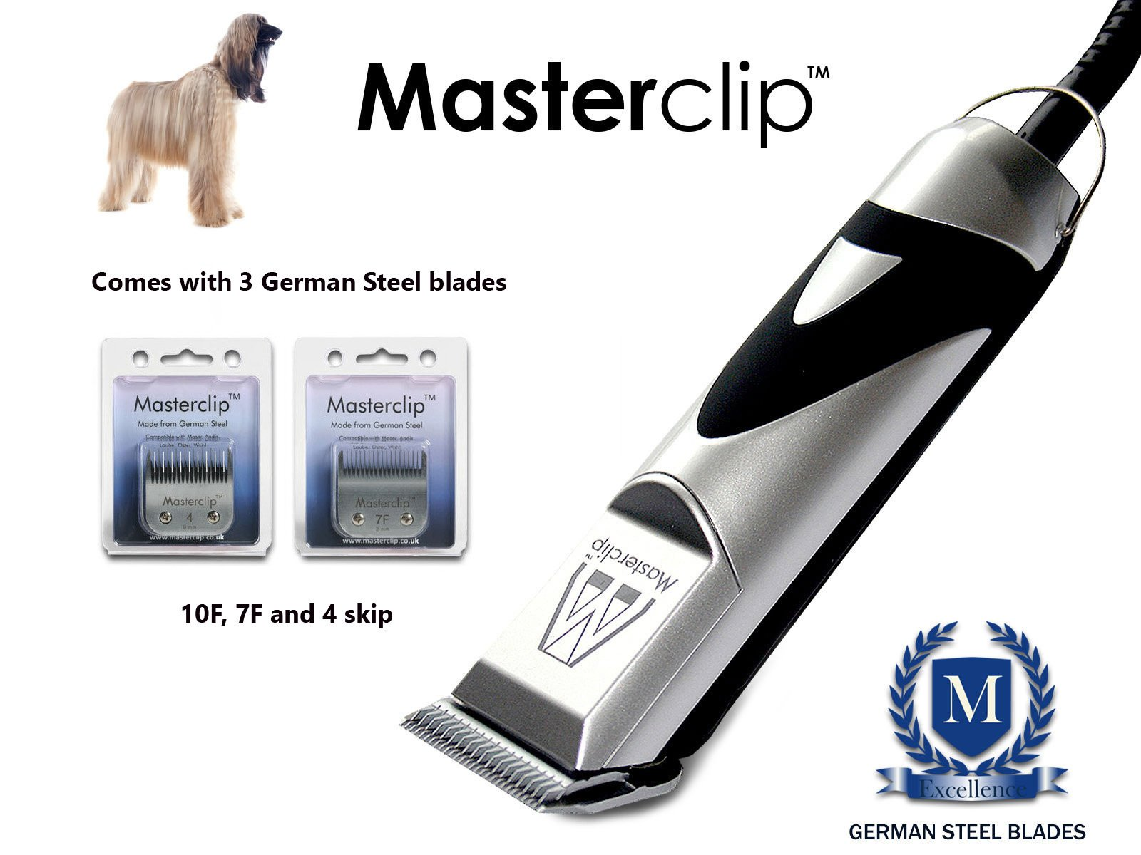 Masterclip New Professional Afghan Hound Dog Clippers Set Pet Grooming Clipper Trimmer Supplies …