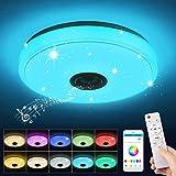 Plafonnier LED Musique, 36W Lampe Plafond avec Haut-parleur Bluetooth, Télécommande et Contrôle APP, Changement de Couleur RG
