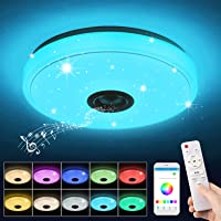 Plafonnier LED Musique, 36W Lampe Plafond avec Haut-parleur Bluetooth, Télécommande et Contrôle APP, Changement de…