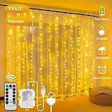 300LED Cortina de Luces – 3m, USB con Control Remoto Impermeable Luz Cadena Navidad, 8 Modos de Luces, Resistente al aguapara