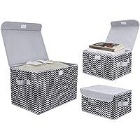 DIMJ Boîte de Rangement Tissu Pliable, Caisse de Rangement avec Couvercles pour Vêtements, Livres, Jouets, Bureau…