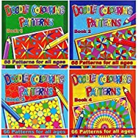 Set of 4 Doodle Colouring Pattern Books Relaxing Anti-Stress Books for Adults & Children 3075 by WF Graham