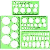 Cirkel- en ovaal sjabloon, 4-delige set, helder groene kunststof meetsjabloon, liniaal, geometrische liniaal voor kantoor en