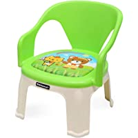 Nilkamal Strong and Durable Plastic Chair with Cushion Base for Kids (Pups Green), 1-2 Years