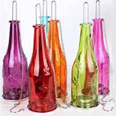 Lake26 Pack Of 2 Multi Color Glass Hanging Tea-Light Holders Bottles, Size: 9 Inch X 2.5 Inch