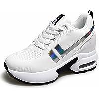 AONEGOLD Sneakers Zeppa Donna Scarpe da Ginnastica Basse Tennis Sportive Fitness Scarpe con Zeppa Interna Tacco 8.5 cm…
