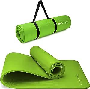 Yoga mat KG | PHYSIO Tappetino anti scivolo spessore extra 12 mm con tracolla–In materiale NBR per tappetini imbottiti