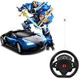 Amitasha Steering Remote Control Battery Operated Car to Robot, Robot to Car Toy for Boys