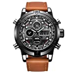 Men's Casual Daily Luxury Dual Movt Men's Leather Quarz Analog Digital LED Sport Wrist Watch (Brown, Men's Size)