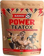 Kayos Testosterone Boosting Detox Green Tea with Hibiscus, Rooibos, White Musli, Shilajit, Ashwagandha for Runner, Cyclists, Athletes, 50g