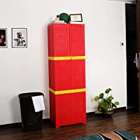 Cello Novelty Large Plastic Cupboard with lock(Red and Yellow)