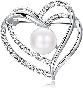 Yoursfs - Spilla a forma di cuore con perla solitaria, placcata in oro bianco, con diamanti artificiali e perle, regalo di San Valentino o di compleanno per donne e ragazze