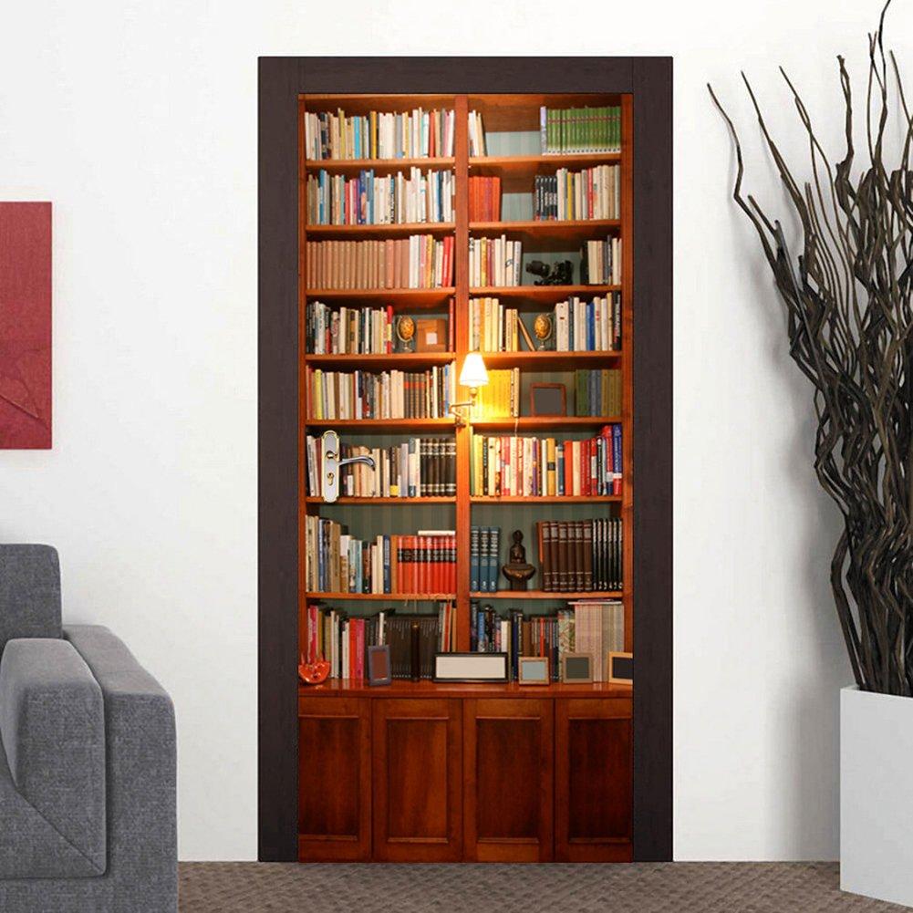 Adesivi per Porte 3D per Decorazione Parete Soggiorno Cucina Camera da  letto Bagno Carta da parati 77X200cm (Bookshelf) | CasaMe
