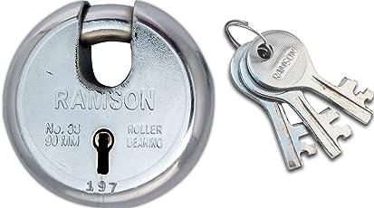RAMSON Round Lock 9 Levers Steel Lock with 3 Keys (90mm)