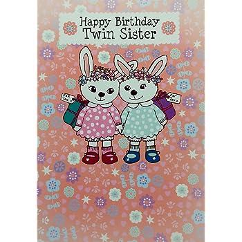 Twin Sister Birthday Card Cute Design Standard 5x7 Size Blank