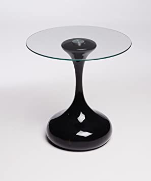 Designer Hour Glass Round Side Table, End Table, Lamp Table (BLACK)