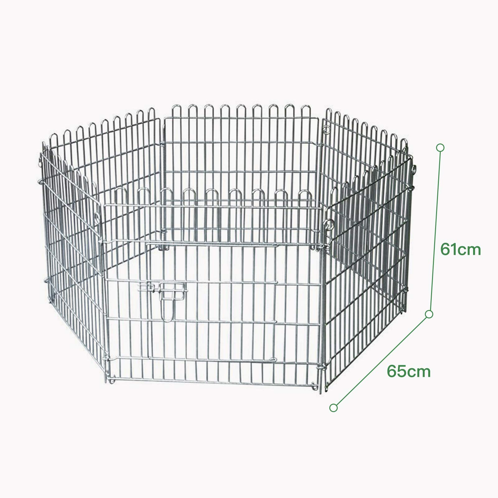 Nurxiovo Metal Large Pet Dog Fence Animal Pen Gate Portable Outdoor Kennel  Cage Playpen Exercise RV Play Yard 6 Pcs 24''HX 26''L / 65H * 61L cm