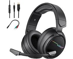 Auriculares Gaming, Cascos Gaming con Microfono para PS4 Xbox One Nintendo Switch, Auriculares Gaming Cancelacion de Ruido, S