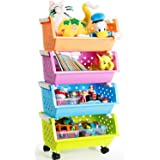 TheTickleToe Kids Baby Toys Storage Organizer Bins Baskets Stack-able with Wheels Set of 4 (Multi Color 44 L 35 W 96 H CMS)