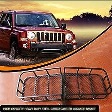 Burrby Zusammenklappbar Gepäck Cargo Korb, 500lbs Hohe Kapazität Heavy Duty Stahl Dachträger Tablett Plattform für LKW SUV Trailer Receiver Hitch Rack Trailer Car Bike Rack