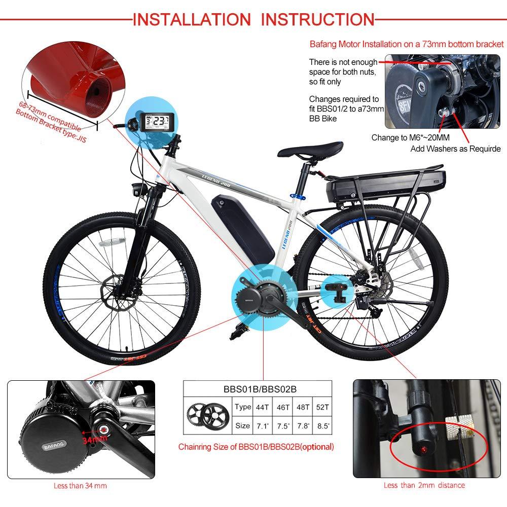 350W Kit di conversione Bici elettrica BBS02B 36V 500W Kit di conversione Bicicletta elettrica o Kit con Batteria E-Bike e Caricabatterie Bafang BBS01B 36V 250W